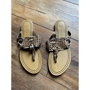 Cynthia Vincent Beaded Gold Snakeskin Sandals 8.5